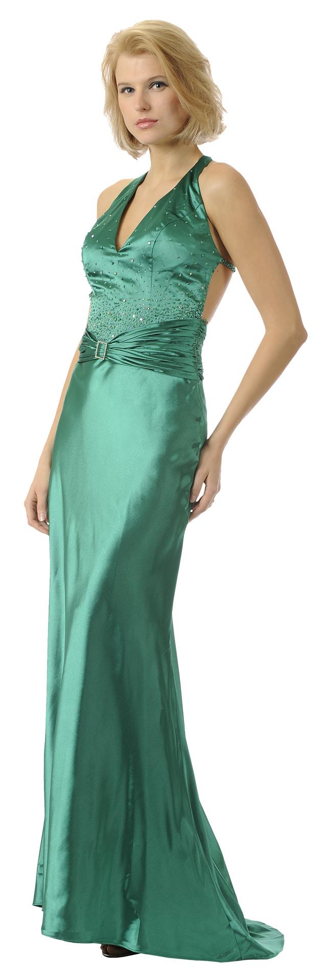Emerald Green Prom Dress Halter Long Satin Formal Gown $149.99 ...