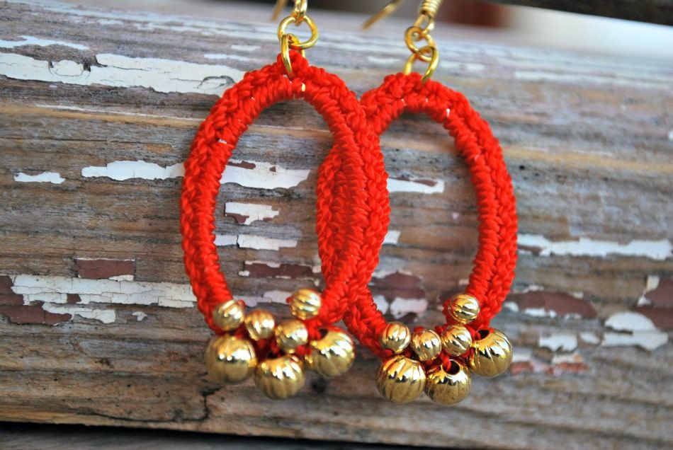 Beaded Crochet Earrings in Orange Red