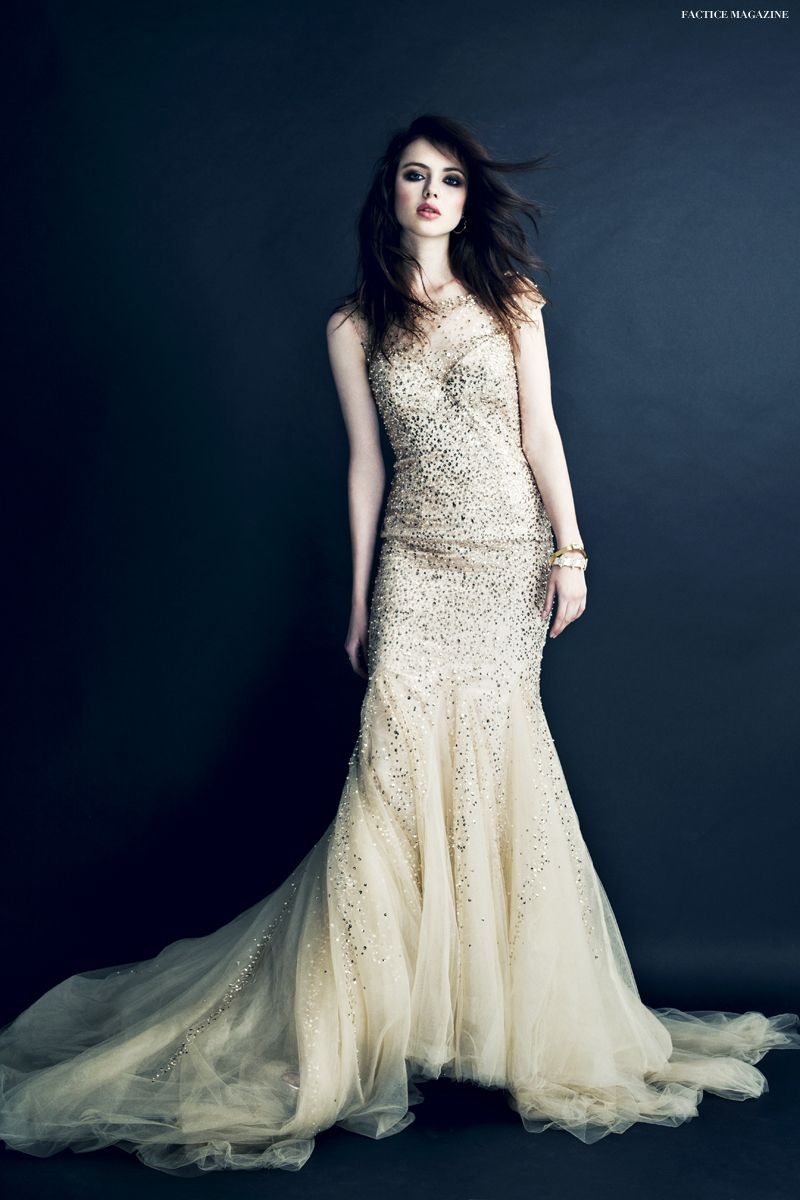 Mac duggal wedding dress featured in factice magazine nude dress
