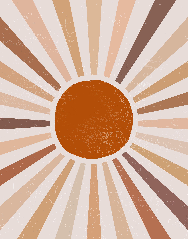 Large Sun Art Print Abstract Sun Wall Art Sun Rays Circle Print Sun Rise Art Boho Sun Wall Art Pastel Sun Print Terracotta Sun Poster Boho Wallpaper Sun Art Phone Wallpaper