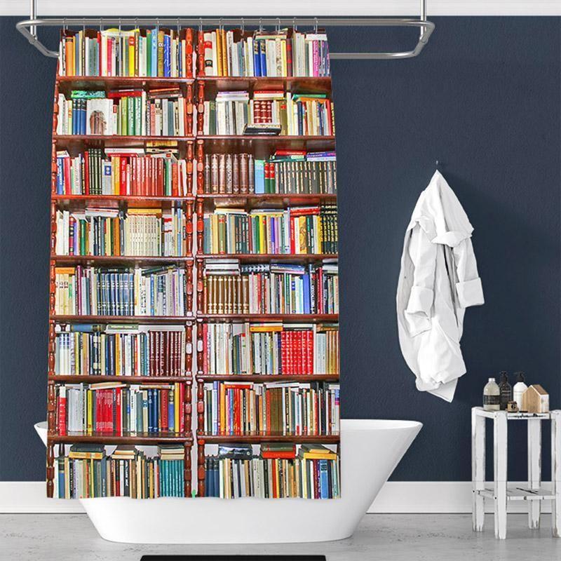 Bookshelf Print Pongee Shower Curtain Interior Tychome Diy