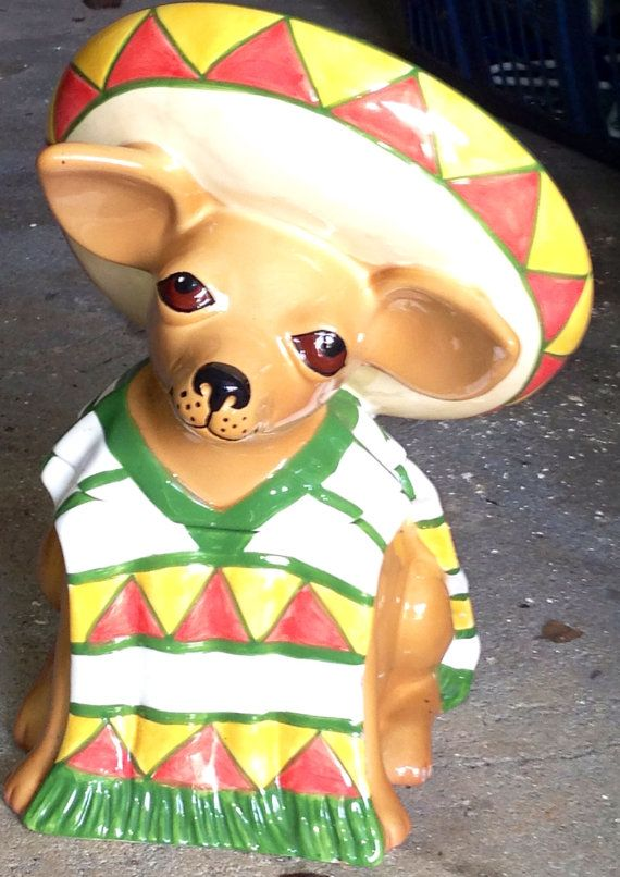 Chihuahua Cookie Jar Prepossessing Vintage Mexican Chihuahua Cookie Jarvintagecookiejars On Etsy Design Inspiration