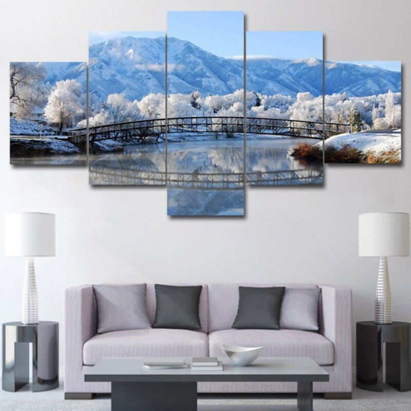5 Panels Modern Decor Poster Potala Palace Winter Natural Scenery Pictures Wall Art Paintings For In 2020 Modern Wall Decor Art Canvas Art Wall Decor Wall Art Painting #wall #scenery #for #living #room