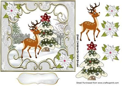 Little deer with christmas tree 7x7 on Craftsuprint - Add To Basket!