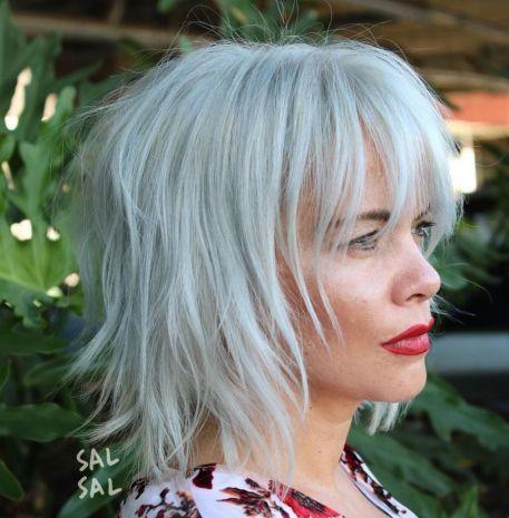 gray shaggy bob in 2020  medium shag haircuts medium