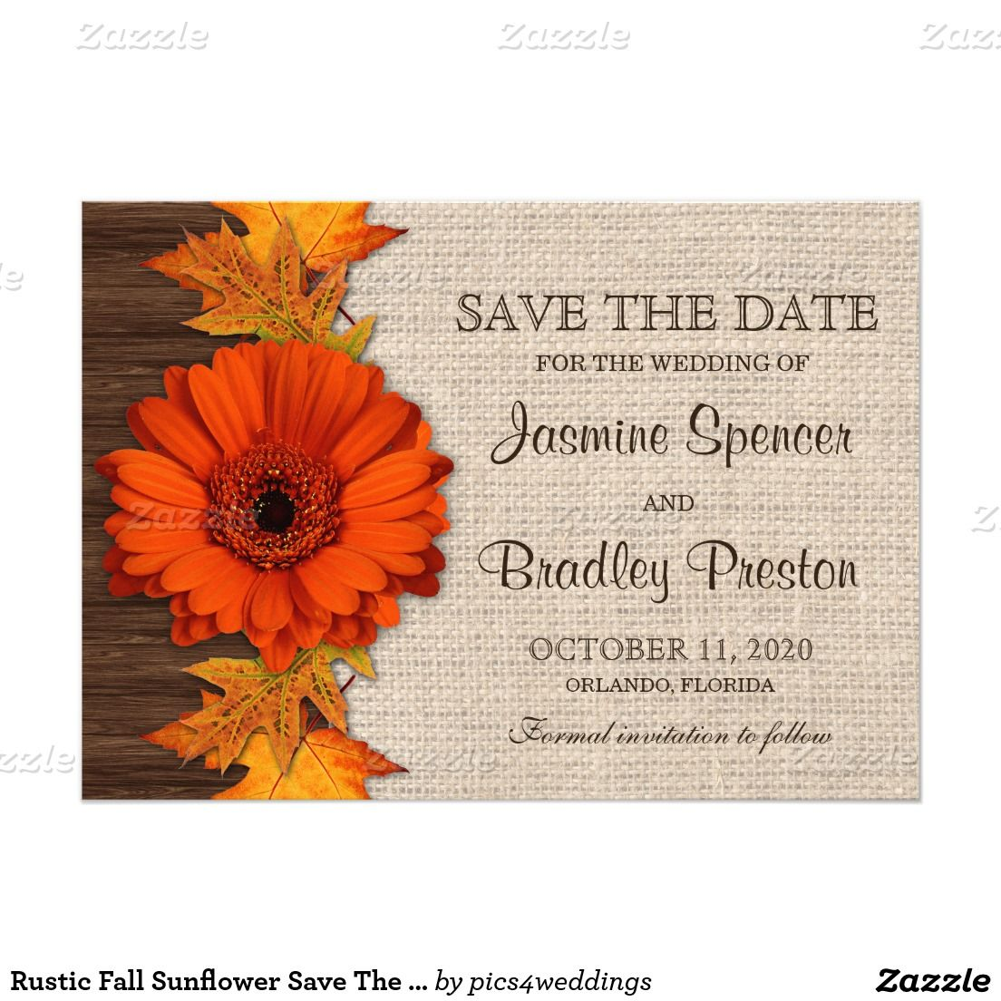 Rustic Fall Save The Date Cards | Pinterest | Orange leaf and Wedding