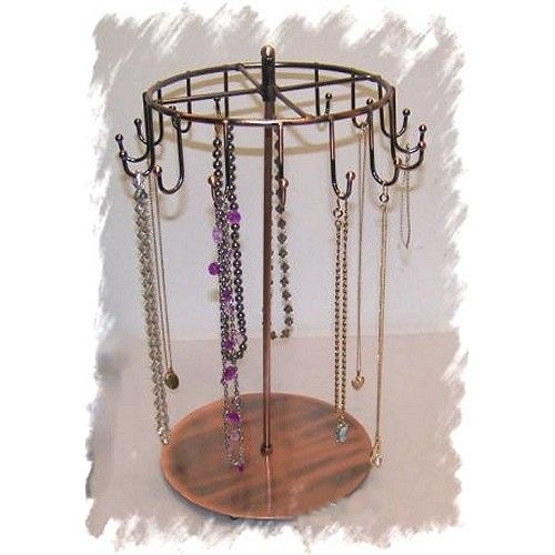Necklace Stand Copper 40 Hook Revolving Wire Display Jewelry Holder Unique Revolving Jewelry Display Stand