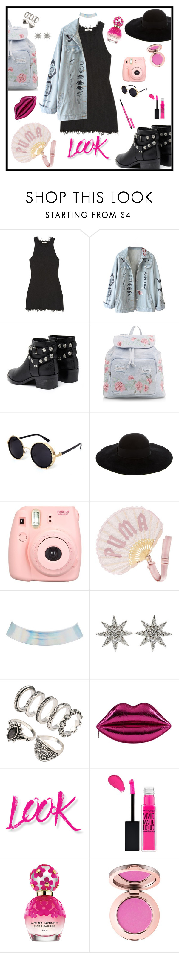 """""""GET THE LOOK 👌🏻"""" by ihottestpm ❤ liked on Polyvore featuring CÉLINE, Senso, New Look, Eugenia Kim, Fujifilm, Puma, Charlotte Russe, Bee Goddess, NYX and Marc Jacobs"""