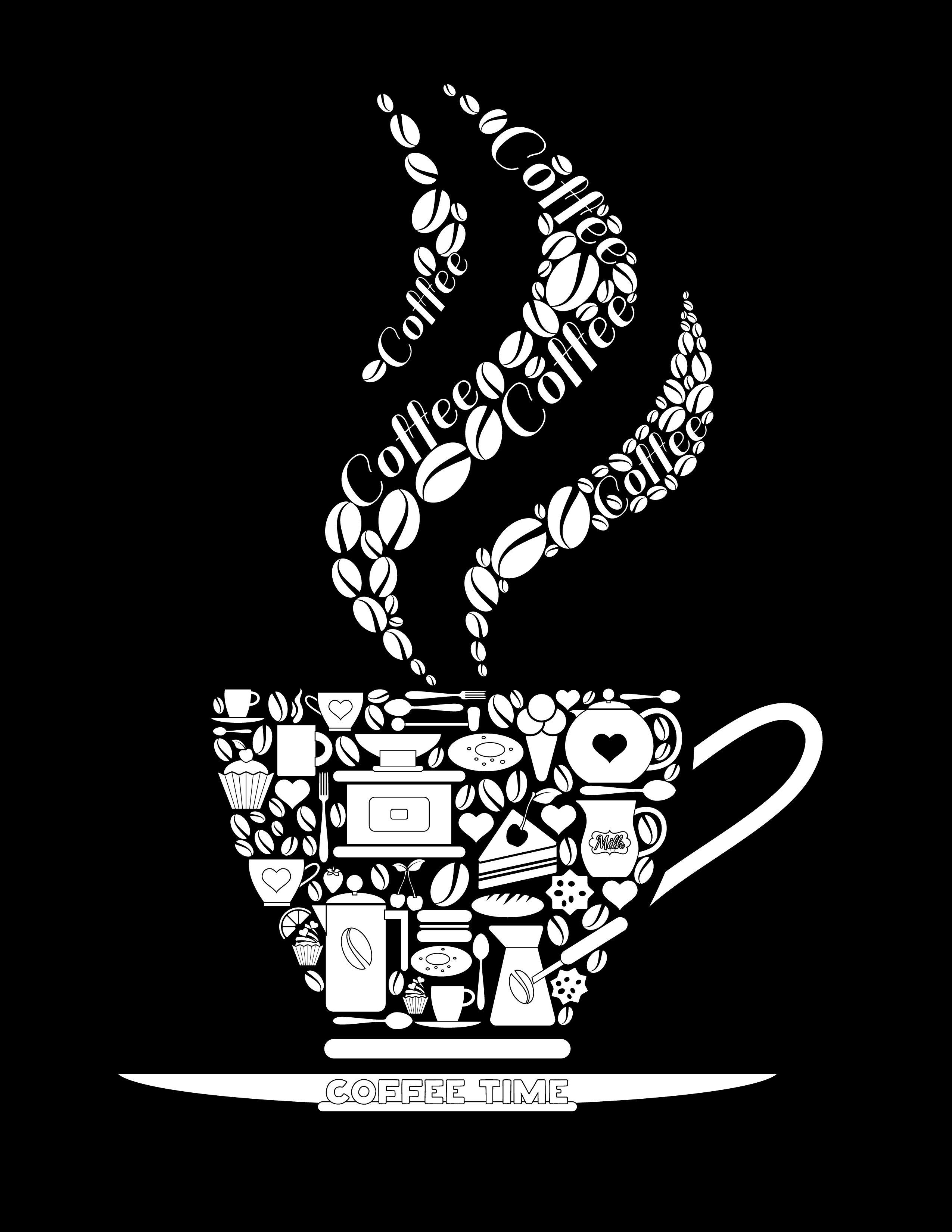 Coloriage noir image tasse de caf imprimer pinterest - Dessin tasse a cafe ...