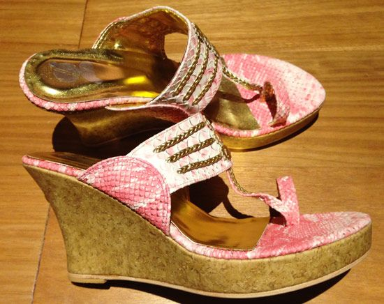 Pink Faux-Snakeskin Wedges at Gossip