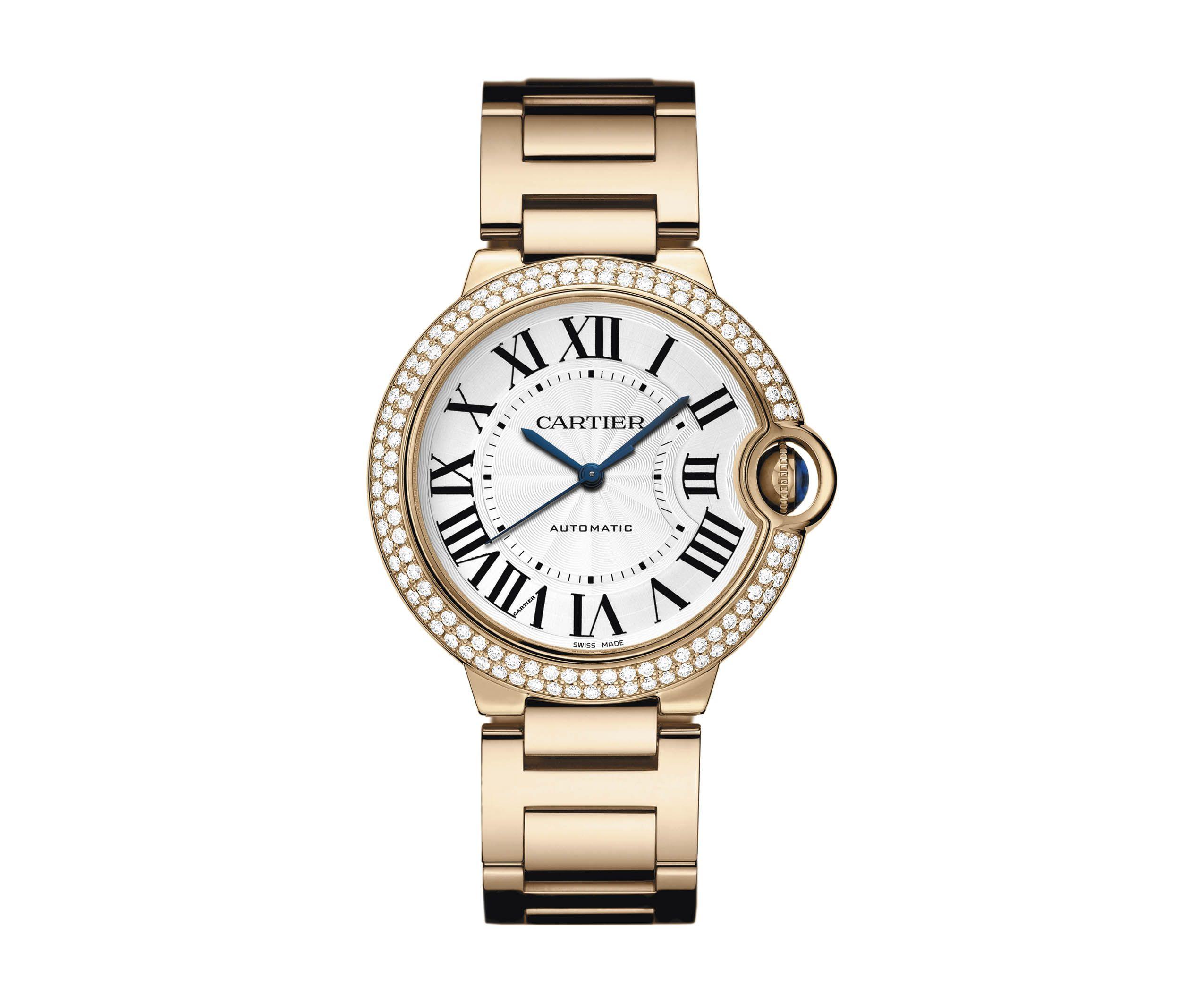Ballon Bleu De Cartier Watch 36 Mm Automatic Pink Gold Diamonds