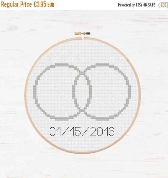 Memorial Day Sale Wedding Rings Cross Stitch Pattern Diy