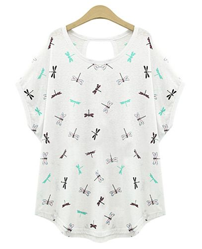 Plus Size Dragonfly Print Short Sleeve Women's T-Shirt