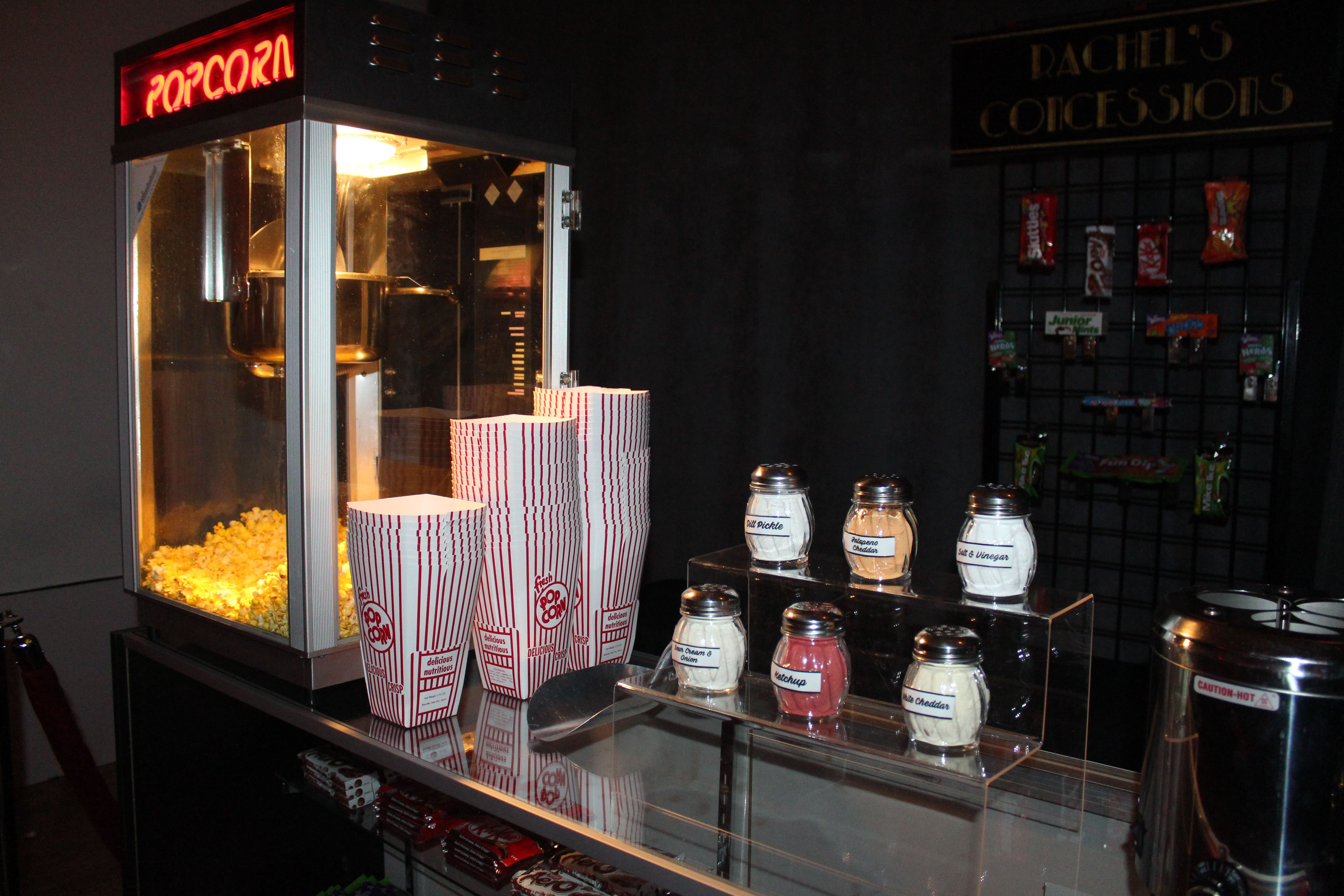 Our Concession Stand Rental Includes A Popcorn Machine Rental Servings Of Popcorn Classic Red Whit Hollywood Party Theme Party Rentals Carnival Party Games