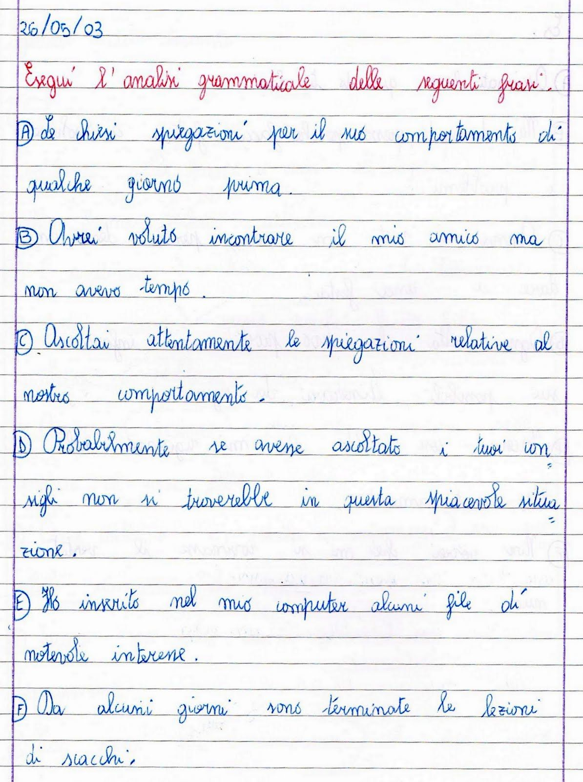 Analisi Grammaticale Attivita Di Grammatica