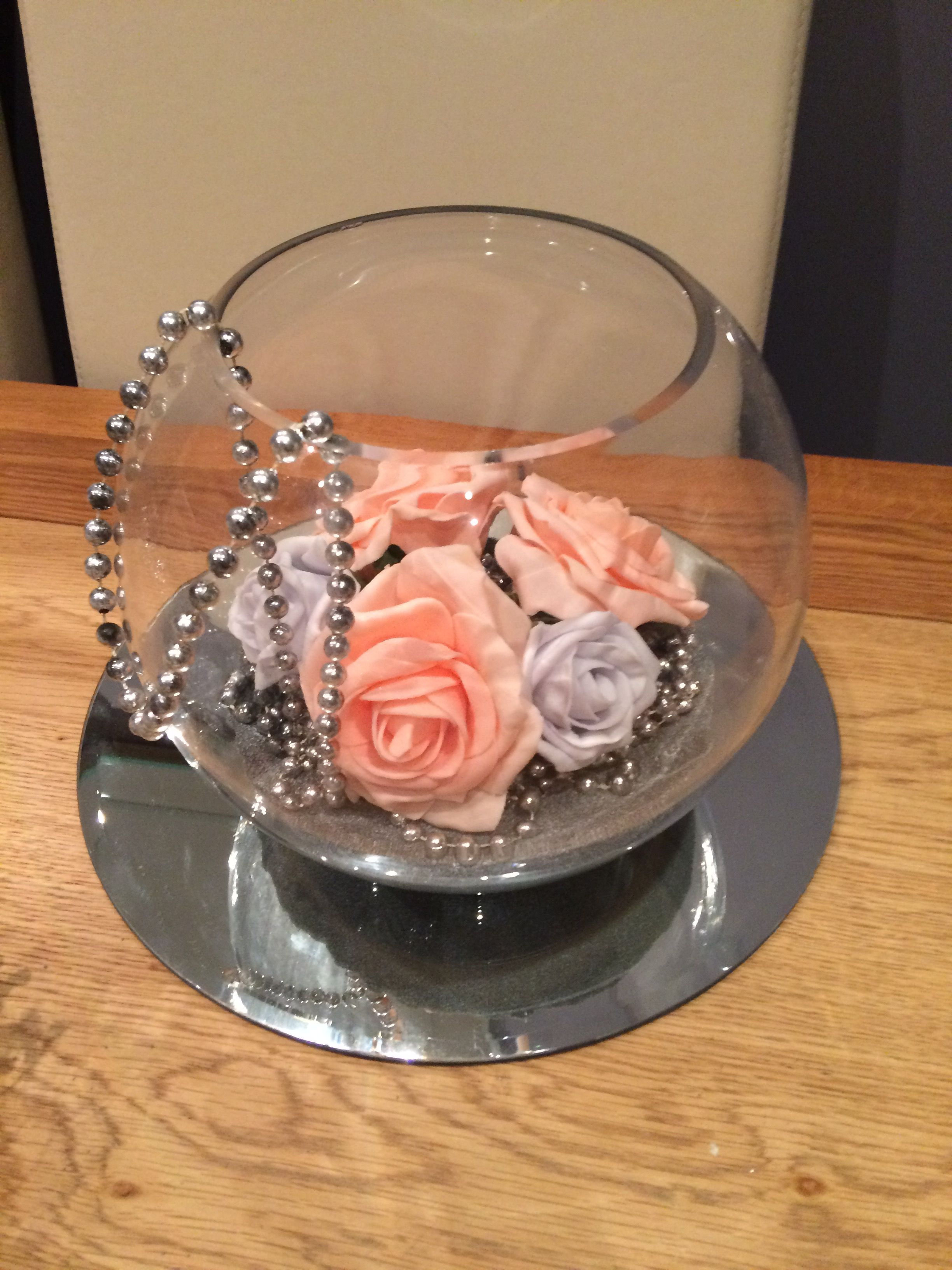 Fish Bowl Wedding Centrepiece For Grey And Pink Themed Weddings