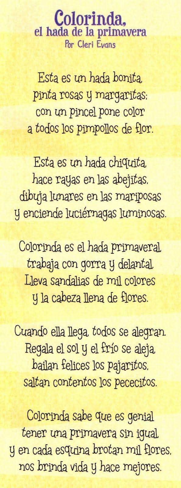 Duendes Juguetones Colorinda El Hada De La Primavera Poemas Cortos Para Niños Cuentos De Primavera Poesía Para Niños