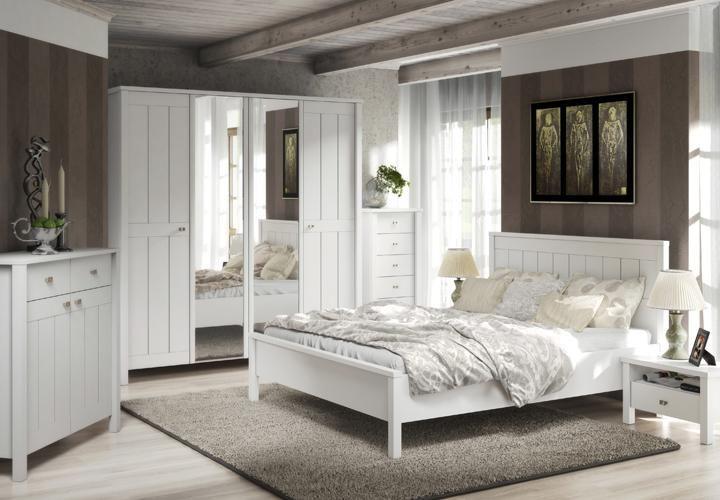 Schlafzimmer BRIGHTON in weiß super matt Landhaus-Style