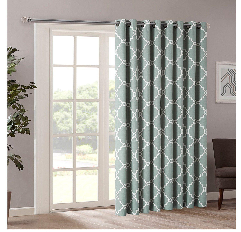 84 Inch Seafoam Color Geometric Sliding Door Curtain Green Sliding