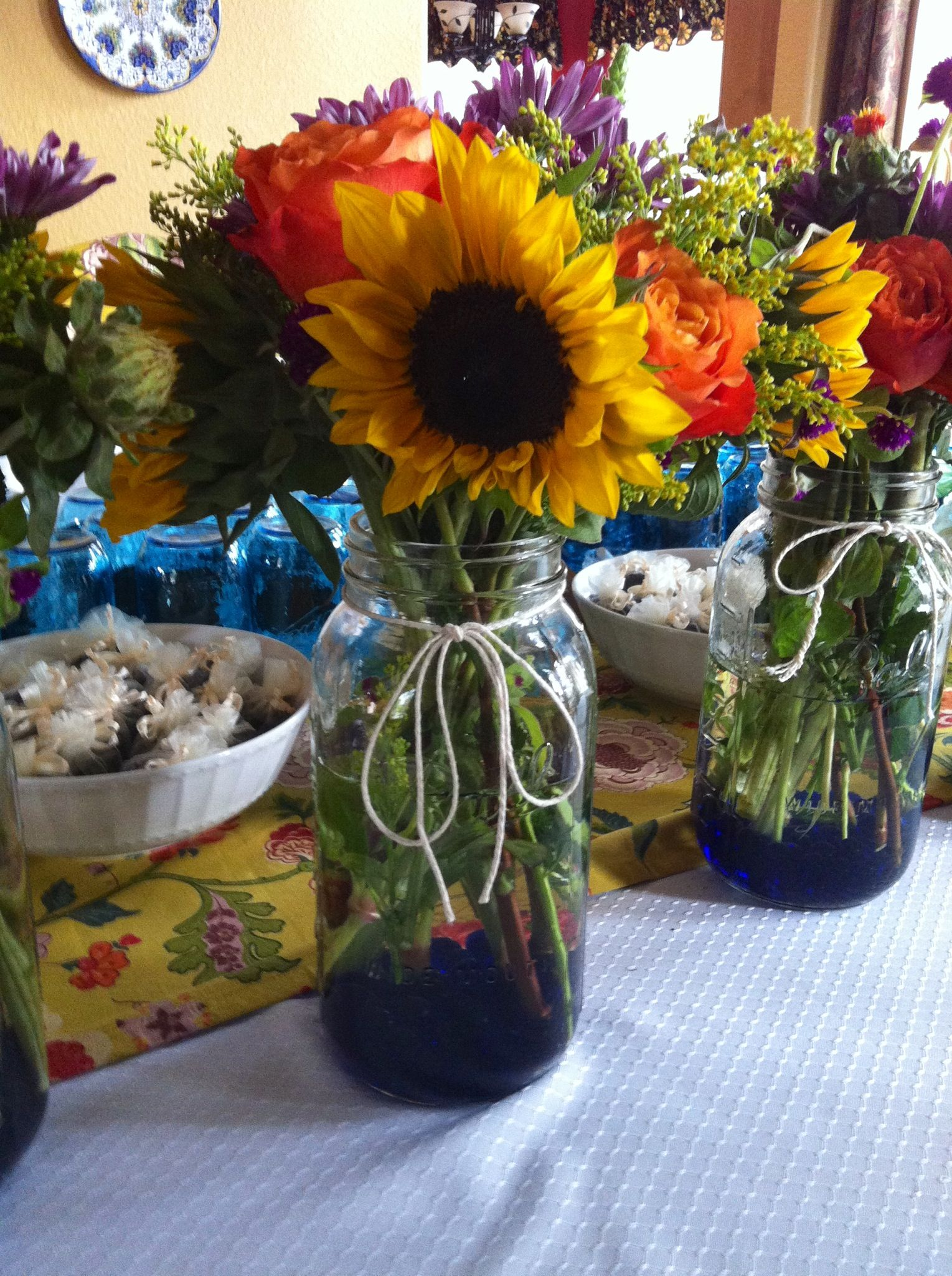 Flower arrangements i made for a bbq couple s wedding