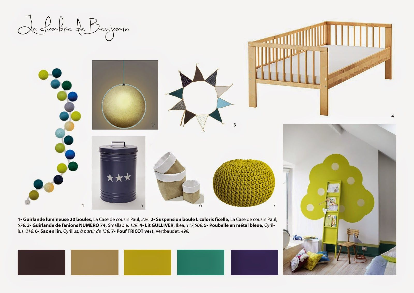 planche tendance shopping chambre enfant vert bleu idee. Black Bedroom Furniture Sets. Home Design Ideas