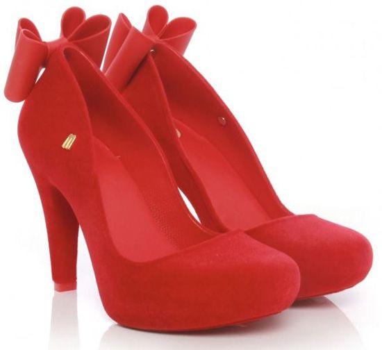 ef104b4bd1 Melissa Incense red flock bow heels | Shoosies | Bow heels, Heels ...