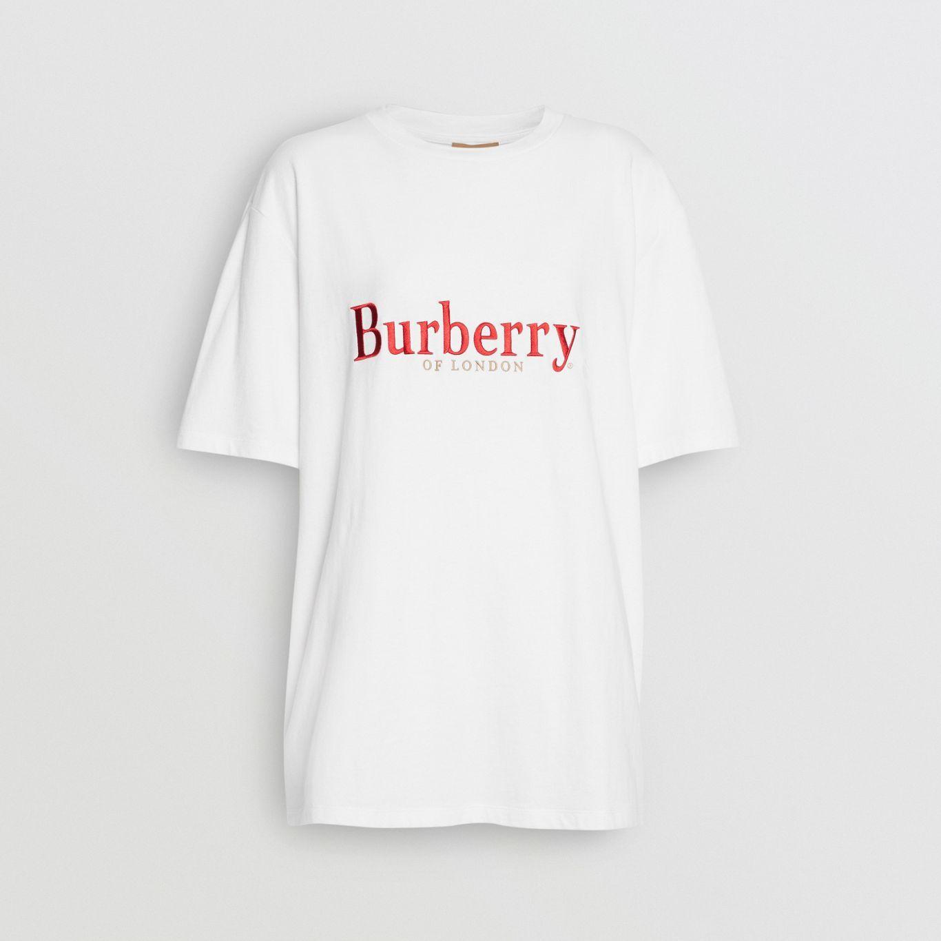 8ff3341c310f Camiseta en algodón con logotipo vintage bordado (Blanco / Rojo) - Mujer    Burberry