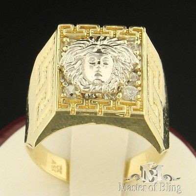 Versace Design Medusa Head 10k Solid Gold Men Signet Band 2tone Greek Pinky Ring Pinky Ring Mens Pinky Ring Men Earrings