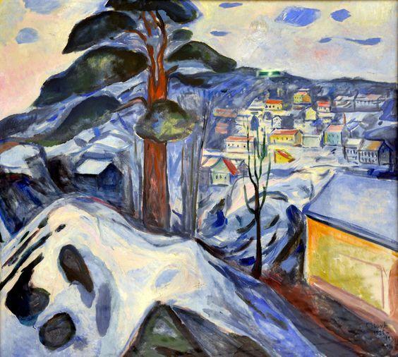 """elpasha711: """" Edvard Munch - Winterlandschaft Kragero, 1931 at Kunsthaus Zürich - Zurich Switzerland """""""
