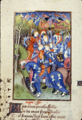 Harley 4431 fol 103v detail (Queen Penthesilea). Paris, France 1410-1414.