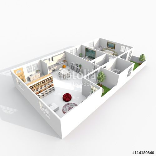 3d Interior Rendering Perspective View Of Furnished Home Apartment With Two Balconies Room Bathroom Kitchen Living RoomsEntrance