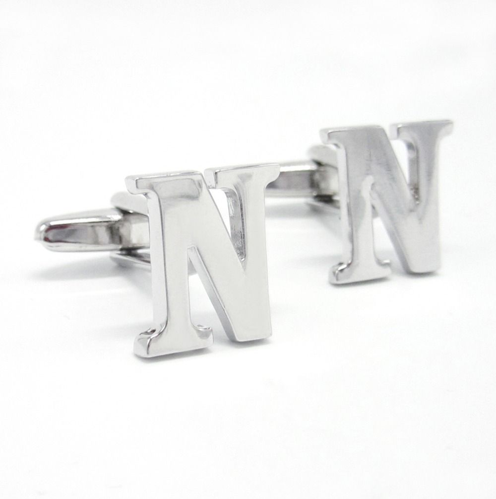 76b8f4bbde Stainless steel Pair of Mens Cufflinks Initial Alphabet Letter N  Personalized Cuffs