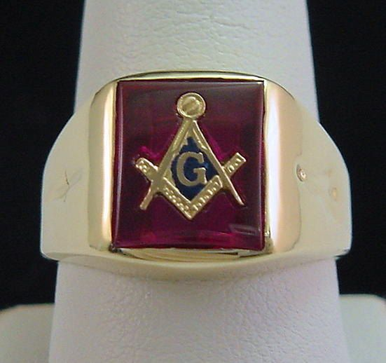 Freemason Ring Red Mason Ring 10k Gold With Ruby Stone And Mirrored Finish With G Square Level Tassel And Tie Freemason Ring Masonic Rings Jewelry Masonic Ring