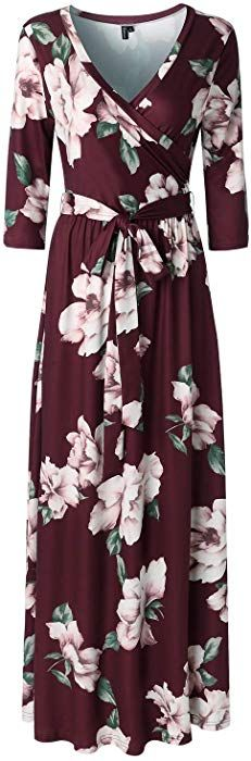 47a2d515a32 Zattcas Womens 3 4 Sleeve Floral Print Faux Wrap Long Maxi Dress With Belt  Wine