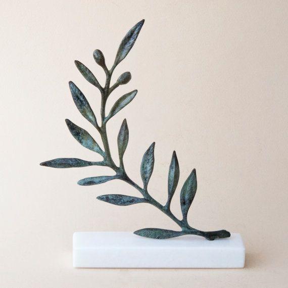 Olive Branch Bronze Sculpture Metal Art Greek Museum Quality Art