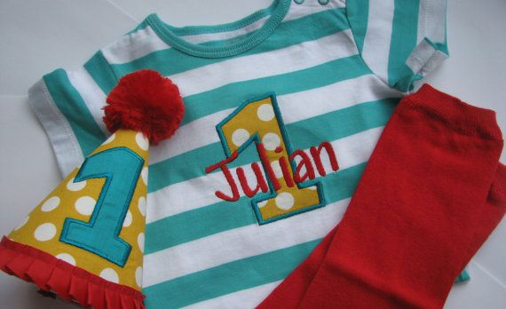 Personalized First Birthday Outfit Baby Boy by PolishedPebbles13