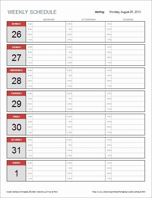 Monthly Schedule Template Excel Best Of Free Weekly ...