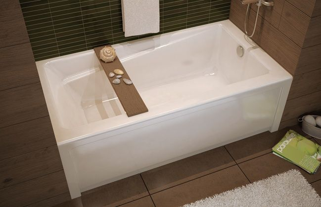 Maax Exhibit (non Jetted) Bathtub   Alcove Install, Double Tiling Flange,  Right