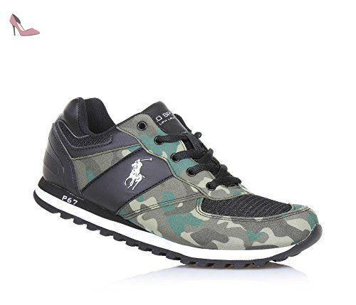 e00c3e689 POLO RALPH LAUREN - Chaussure à lacets et avec camouflage noire, en ...