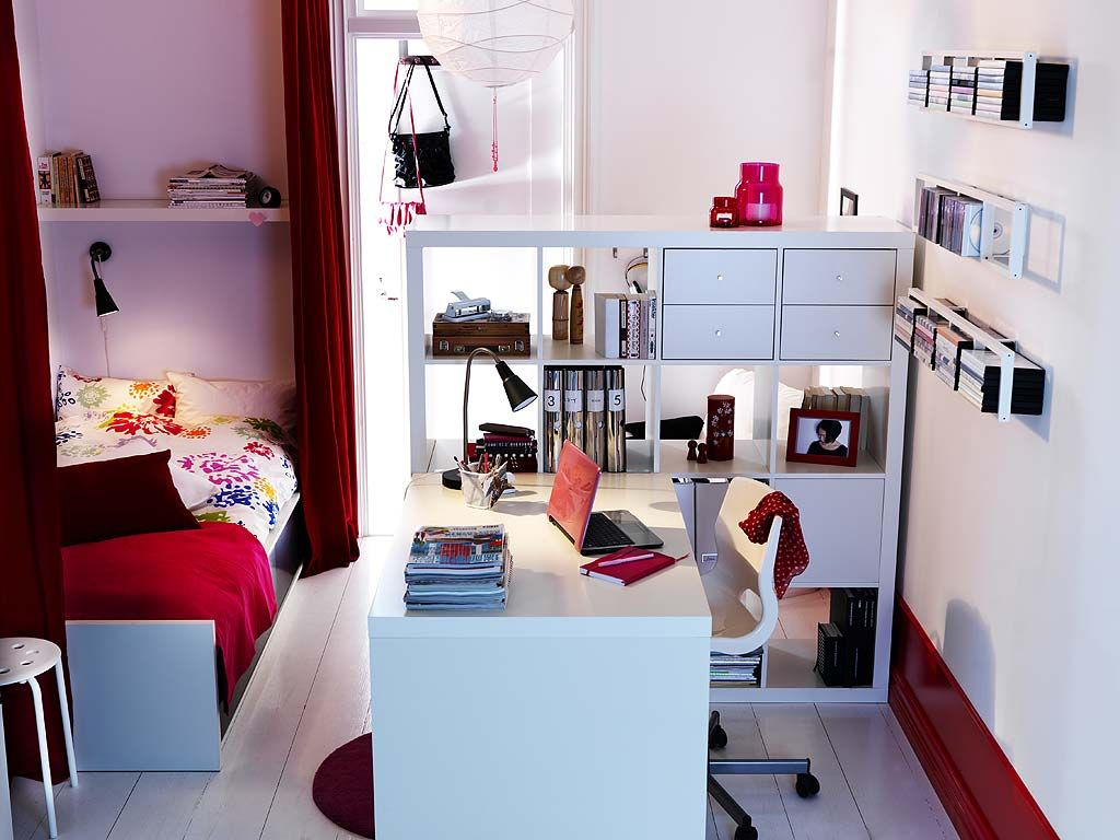This is cute for a fun home office/extra bed | Ikea style