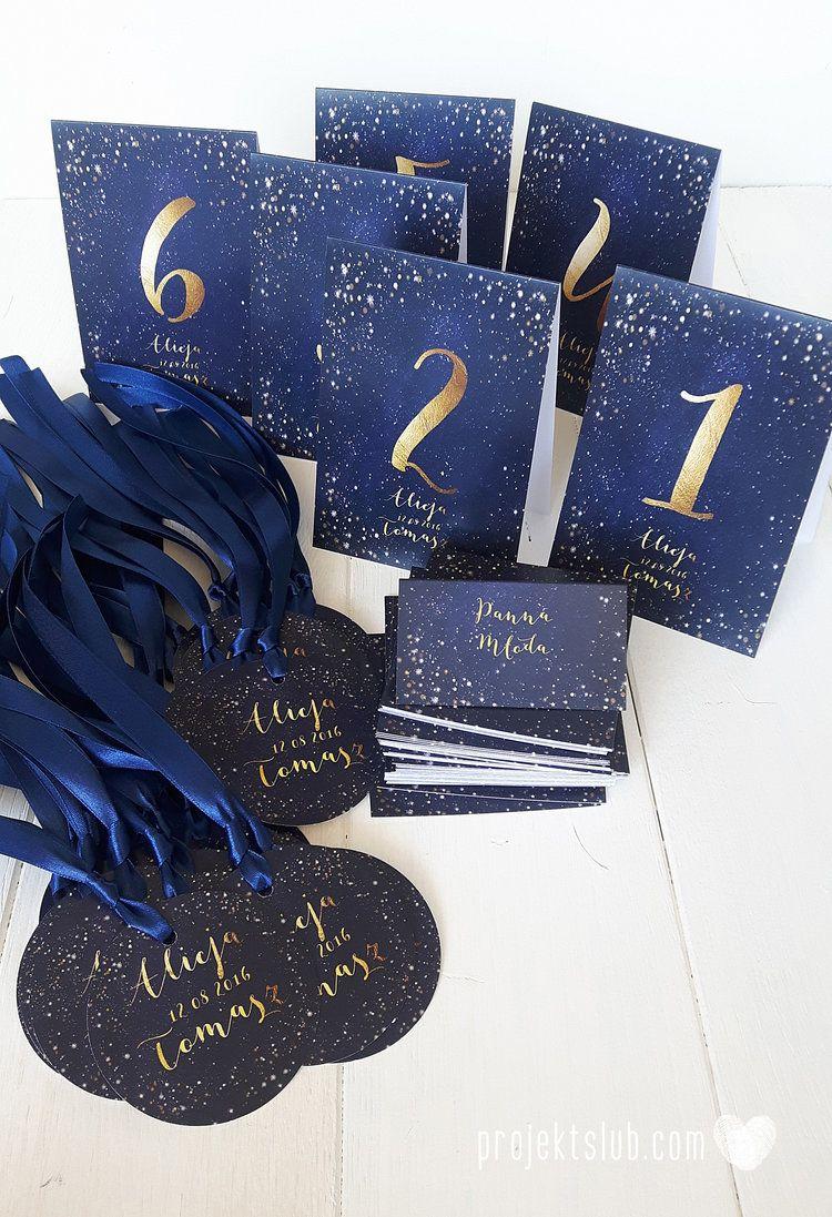 Zaproszenia Slubne Gwiezdziste Niebo Grant Gwiazdy Motyw Przewodni Personalizowane Dodatki Weselne Papeter Navy Blue And Gold Wedding Blue Wedding Gold Wedding
