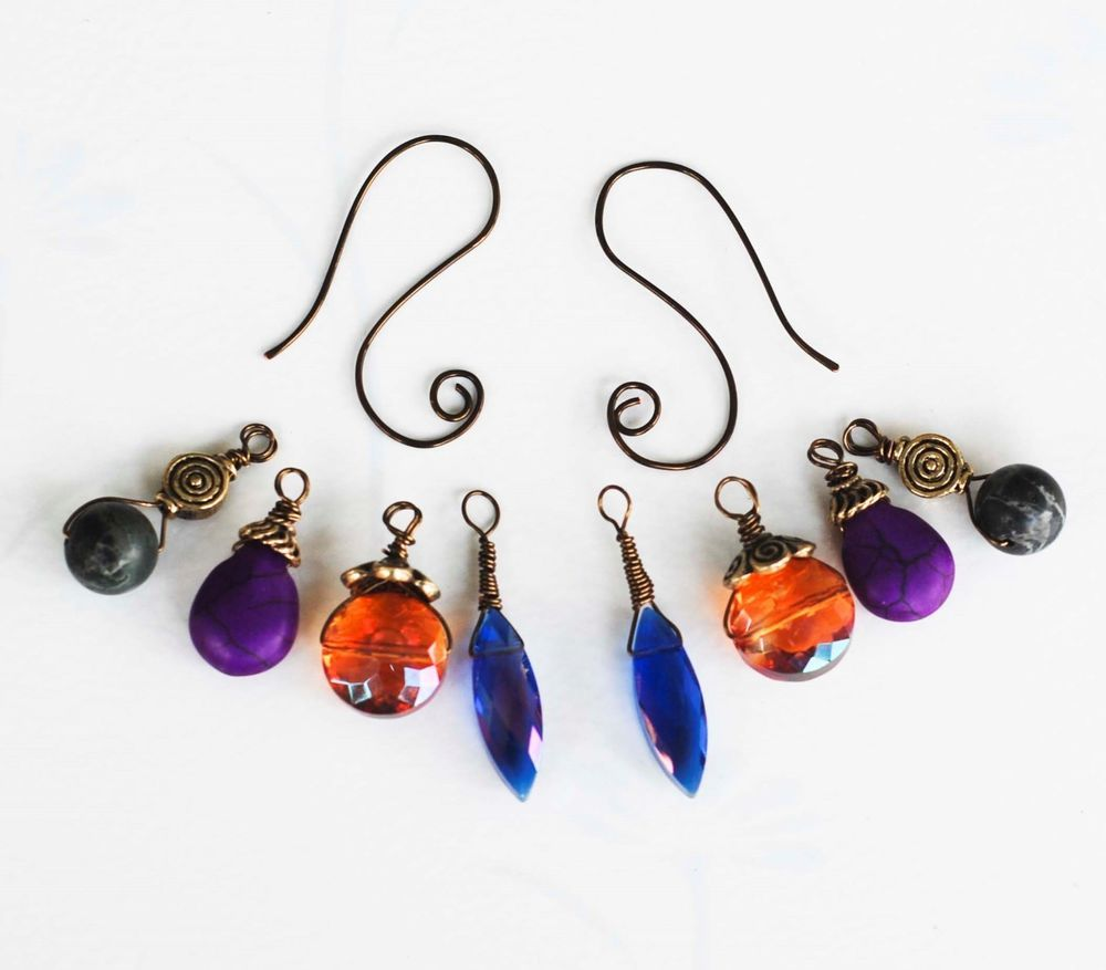 Interchangeable Earrings Orange Blue Crystal Purple Magnesite Green Jasper Stone #Jeanninehandmade #Wrap