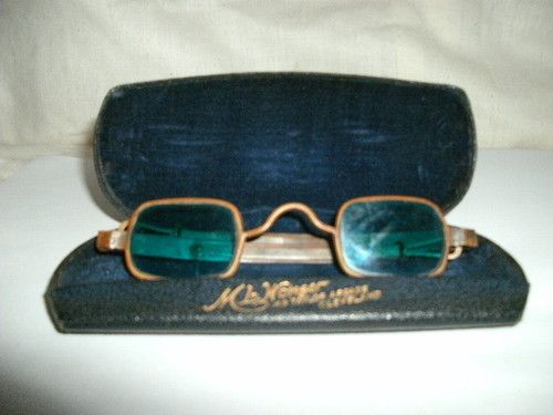 1d133cd928e RARE Antique 1900s Victorian Sunglasses with Adjustable Arms Blue Green  Lenses