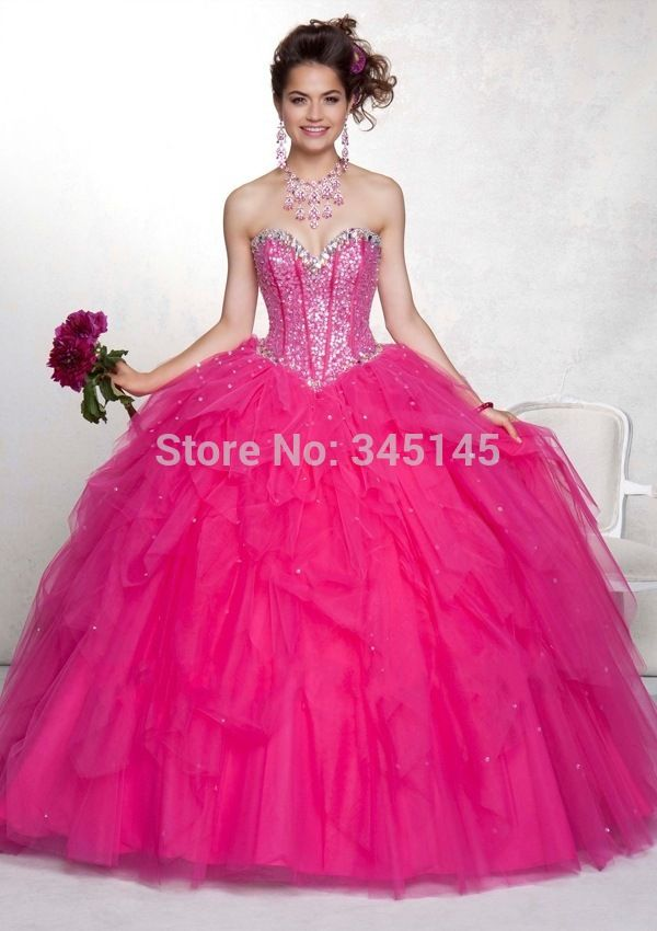 c723d53bf3e New Fashion Hot Pink Quinceanera Dresses Sweetheart Beaded Princess Ball  Gown Long Tulle
