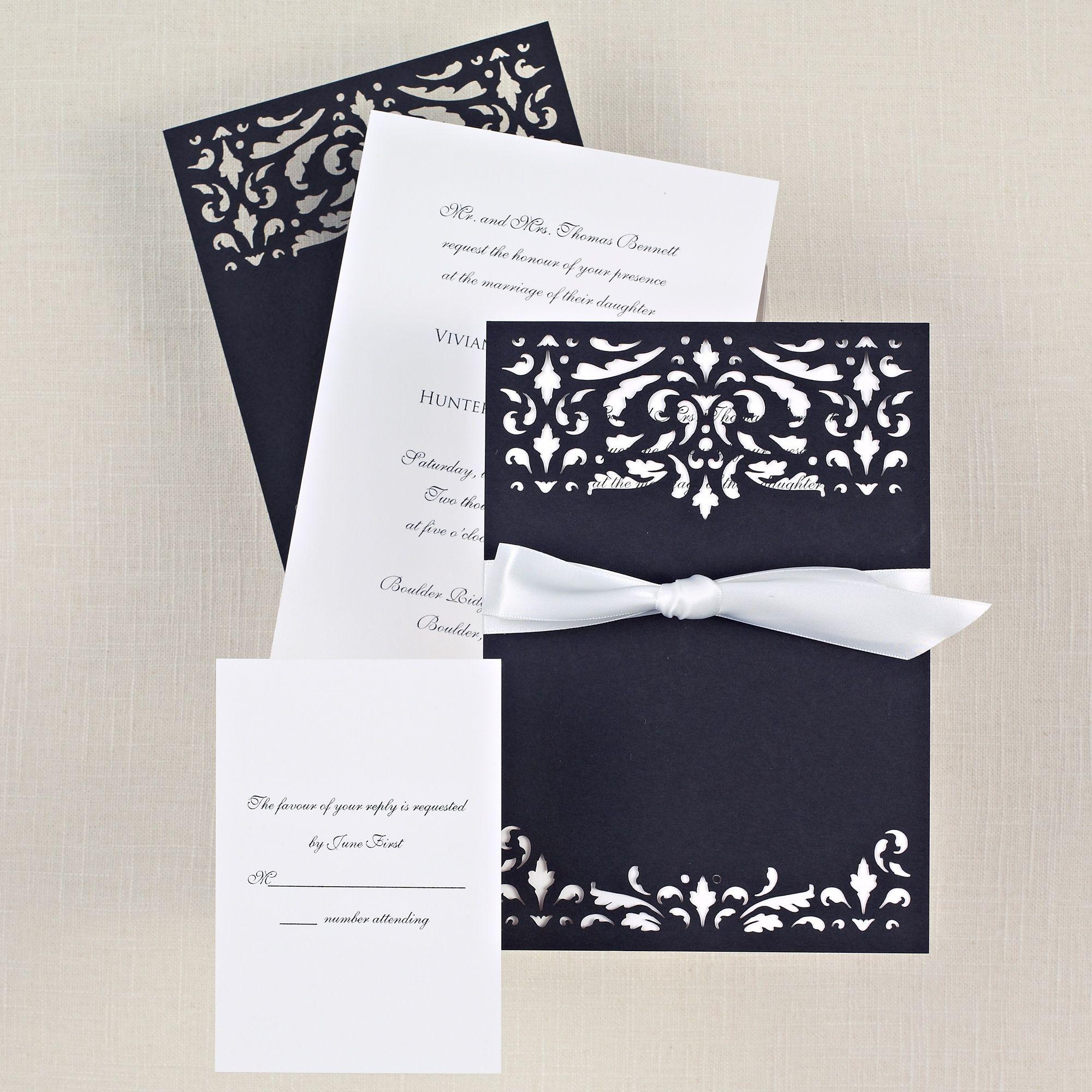 Midnight Romance Wedding Invitation | Laser cut details, black and ...