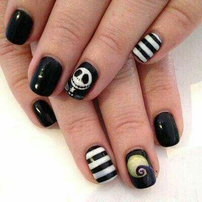 Jack Skellington Nail Design Hair Nails Make Up Pinterest