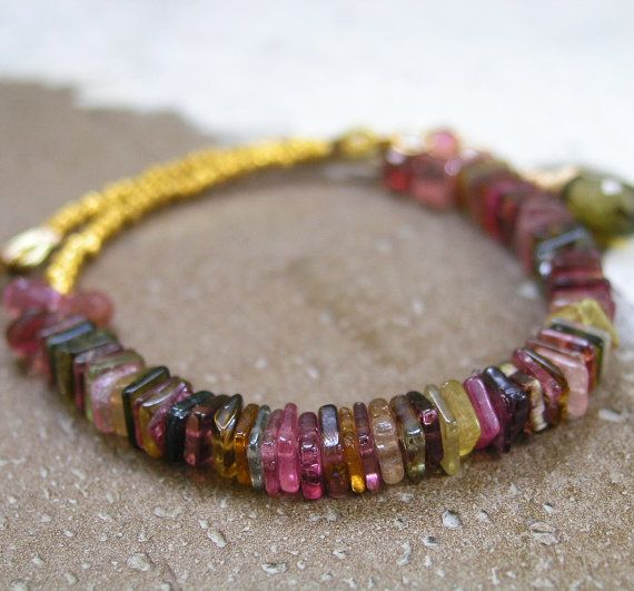 Tourmaline Vermeil Beaded Bracelet Colorful by bellajewelsII