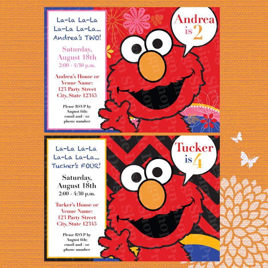 Elmo Birthday Party Invitation Design for Boys and Girls