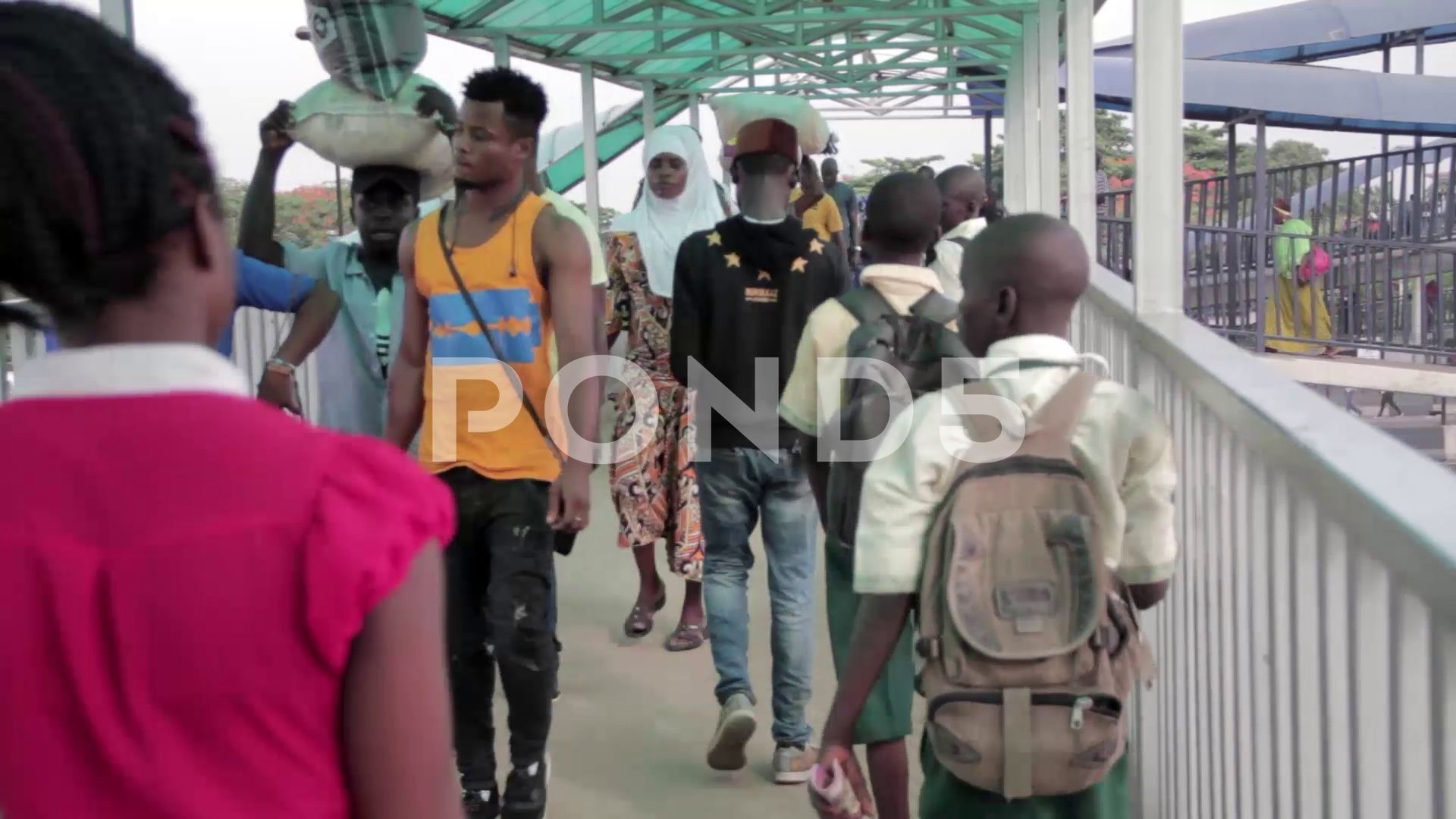 Busy pedestrian bridge in Lagos City Nigeria Stock Footage bridgeLagosBusypedestrian
