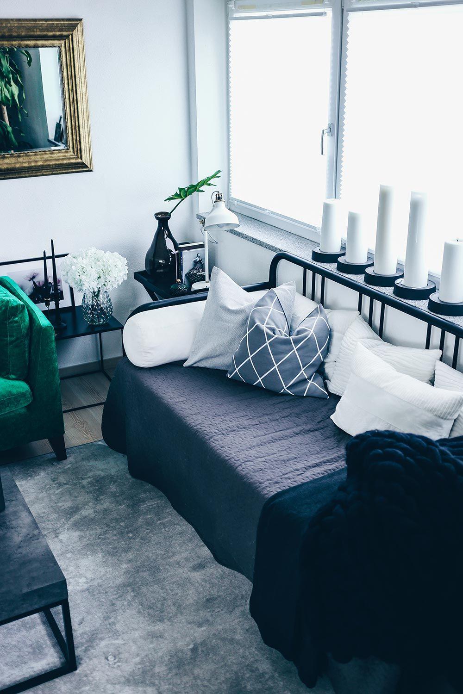 Unsere neue Wohnzimmer-Einrichtung in Grün, Grau und Rosa!   Pinterest